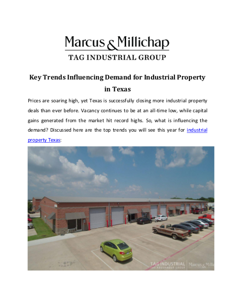 Key Trends Influencing Demand for Industrial Property in Texas